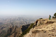 Simien mountains. Hiking with a guard in simien mountains national park, ethiopia royalty free stock image