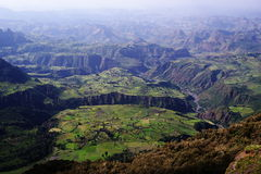 Simien mountains. View from the edge of escarpment near Sankaber Camp Royalty Free Stock Photos