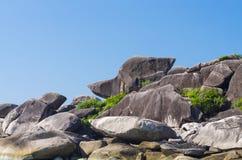 Similan海岛、唐老鸭美丽的景色或起动岩石 免版税图库摄影