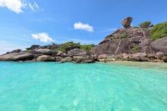 Similan海岛的岩石标志在泰国 库存照片