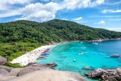 Similan bay sailing rock island in andaman sea Royalty Free Stock Image