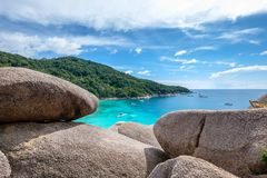 Similan bay sailing rock island in andaman sea Stock Photography