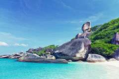 Similan Island. Hin Rue Bai landmark ,Similan Island , PhangNga Province Thailand Stock Photo