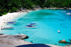 SIMILAN ISLAND, THAILAND - APRIL 24 2017 Aerial view group Tourist. On shore spend time to relaxing stock photo