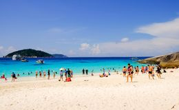 SIMILAN ISLAND, THAILAND - APRIL 24 2017 Group Tourists is spend time on Similan Island Stock Photo