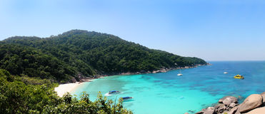 Similan islands bay - Panoramic view of a beach from the Sail Rock, Similan Islands National Park, Andaman Sea, Thailand Royalty Free Stock Image