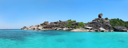 Similan islands - Huge panoramic view of the coast and Sail Rock from the sea (seaward side), Similan Islands, Thailand Stock Images