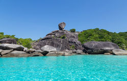 Similan Islands Rock and turquoise blue sea Thailand.  Royalty Free Stock Images
