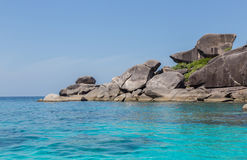 Similan Islands Rock and turquoise blue sea Thailand.  Royalty Free Stock Photos