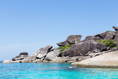 Similan Islands with rocks and turquoise sea.  Royalty Free Stock Photos