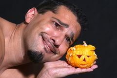 Similar. Portrait of a man with a  little halloween pumpkin Stock Photography