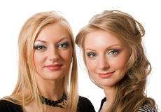 Similar blonde sisters isolated Royalty Free Stock Photos
