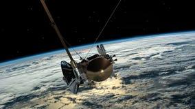 Similar por satélite con la tierra del planeta de Cassini que está en órbita Satélite de comunicaciones sobre el vuelo de la tier almacen de video