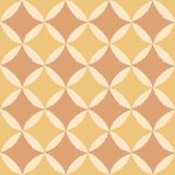 Digitally generated colored, rough edged motifs on colorful, square shaped pattern. Similar rough edged ornate repeat motifs, arranged in a tile grid, in muted Royalty Free Stock Image