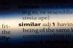 Similar. Word in a dictionary.  concept stock photos