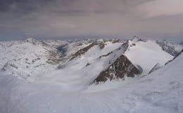 Similaun冰川在冬天在奥地利 免版税库存图片