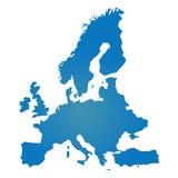 Simile mappa blu in bianco di Europa isolata su fondo bianco Vect Immagine Stock Libera da Diritti