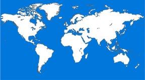 Simile mappa di mondo blu Spazio in bianco della mappa di mondo Modello della mappa di mondo di vettore della mappa di mondo Ogge Immagine Stock