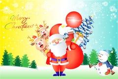 Similey de Kerstman en rendier op sneeuwachtergrond - vetor eps10 Royalty-vrije Stock Afbeelding