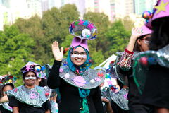 Similing Face in Grand Finale Parade. Standard Chartered Arts in the Park Mardi Gras is one of Hong Kong's largest and most vibrant annual community arts Royalty Free Stock Images