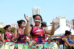 Similing Face in Grand Finale Parade. Standard Chartered Arts in the Park Mardi Gras is one of Hong Kong's largest and most vibrant annual community arts Stock Images