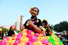 Similing Girl in Grand Finale Parade. Standard Chartered Arts in the Park Mardi Gras is one of Hong Kong's largest and most vibrant annual community arts Stock Photos