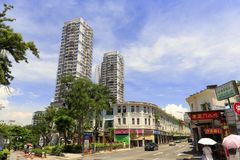 Simingnan street view, adobe rgb. Simingnan road landscape of xiamen city, fujian province, china. there are old-fashioned arcades and high-rise buildings here Stock Photo