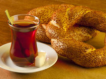 Simit bread with tea Stock Images