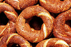 Simit. Traditional sesame coated bagel which is called as simit in Turkish Royalty Free Stock Image