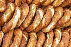 Simit: sesamen  bread  traditional food in Turkey Stock Images