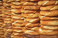 Simit, the Turkish Crispy Sesame Bagels Royalty Free Stock Images
