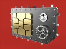 Simkaart als de veiligheidsconcept van de kluis veilig, mobiel online connectiviteit de hoge metafoor van het veiligheidsniveau,  Royalty-vrije Stock Afbeelding