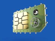 Simkaart als de veiligheidsconcept van de kluis veilig, mobiel online connectiviteit de hoge metafoor van het veiligheidsniveau,  Royalty-vrije Stock Foto