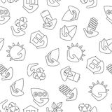 Simless eco pattern. Simless pattern of green energy and pollute.Ecology icons. Ecology icons set. Ecology icons flat. Ecology icons illustration. Cartoon flat Royalty Free Stock Photography