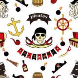 Simless pattern Pirates themed drawings by hand. Pirate symbols-swords, treasure chest, skull and crossbones, Davy Jones, octopus. Trumpet, barrel, flag, hook stock illustration