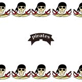 Simless pattern Pirates themed drawings by hand. Pirate symbols-swords, treasure chest, skull and crossbones, Davy Jones, octopus royalty free illustration