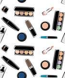 Simless wzór z wizerunkami kosmetyki, kosmetyki dla skóry opieki, dekoracyjni kosmetyki w wektorze, Nakreślenie wizerunek Zdjęcie Royalty Free