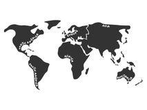 Simlified världskarta som delas till sex kontinenter i mörka grå färger stock illustrationer