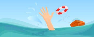 Simma banret för begrepp för boj för tagandehjälpliv, tecknad filmstil vektor illustrationer