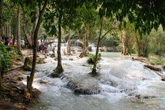Simma i vattenfallen ovanför Luang Prabang arkivfoton