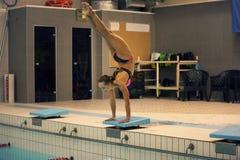 Simmare det klart att hoppa in i simbassäng för inomhus sport stå på armar med ben upp Royaltyfri Bild