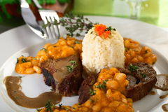 Simmer deer meat with beans Royalty Free Stock Photography