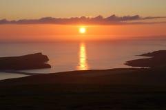Simmer Dim sunset. Glorious summer sunset in the Shetland Islands Stock Photo