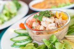 Simmer shrimp with vegetable in plate. Thai Food Stock Photo