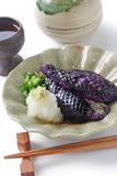 Simmered eggplants,sake, japanese food Royalty Free Stock Images