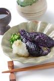 Simmered eggplants,sake, japanese food Royalty Free Stock Images