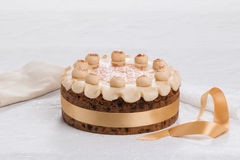 Simnel cake Traditional British Easter cake, with marzipan topping and the traditional 12 balls of marzipan Royalty Free Stock Photography