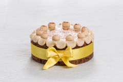 Simnel cake Traditional British Easter cake, with marzipan topping and the traditional 12 balls of marzipan Royalty Free Stock Image