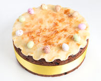 Simnel cake Traditional British Easter cake, with marzipan topping and the traditional 12 balls of marzipan Royalty Free Stock Photo