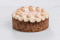 Simnel cake Traditional British Easter cake, with marzipan topping and the traditional 12 balls of marzipan Royalty Free Stock Photos